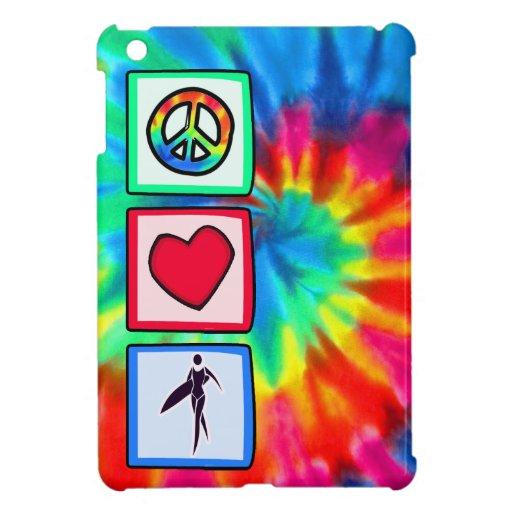 Paz, amor, chicas de la persona que practica surf iPad mini funda
