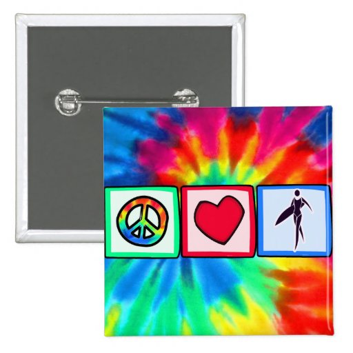 Paz, amor, chicas de la persona que practica surf pin cuadrada 5 cm