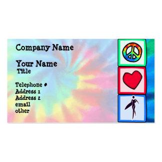 Paz, amor, chicas de la persona que practica surf plantillas de tarjetas de visita