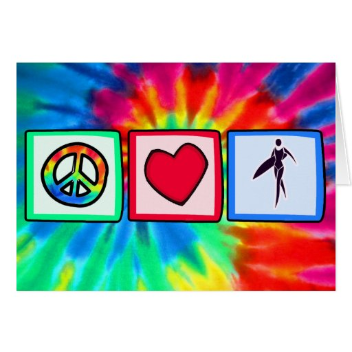 Paz, amor, chicas de la persona que practica surf tarjeta de felicitación