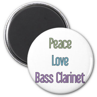 Paz, amor, clarinete bajo imán redondo 5 cm