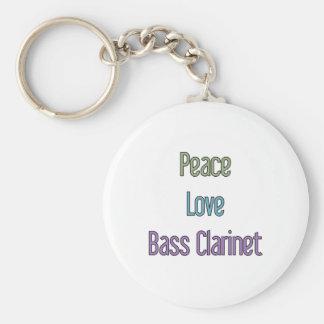Paz, amor, clarinete bajo llavero redondo tipo pin