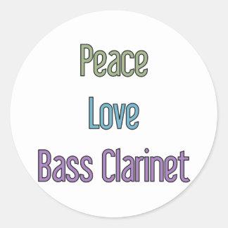 Paz, amor, clarinete bajo etiquetas redondas