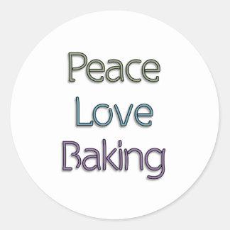 Paz, amor, cociendo pegatina redonda