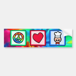 Paz, amor, cocinando pegatina de parachoque