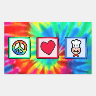 Paz, amor, cocinando pegatina rectangular