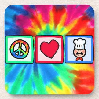 Paz, amor, cocinando posavasos de bebida