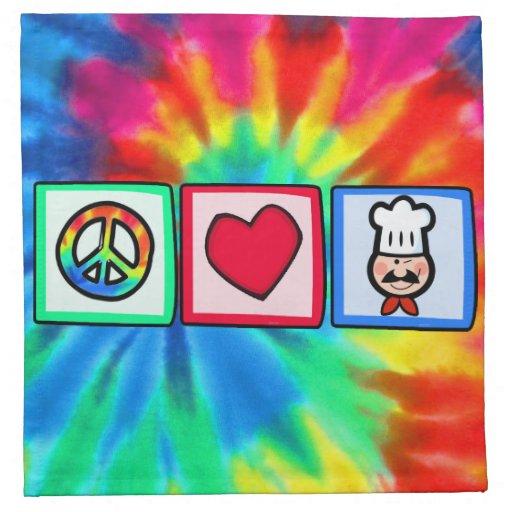 Paz, amor, cocinando servilleta imprimida