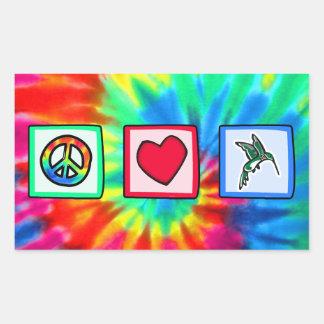 Paz, amor, colibríes pegatina rectangular