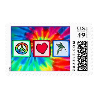 Paz, amor, colibríes sellos
