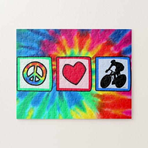 Paz, amor, completando un ciclo rompecabezas con fotos
