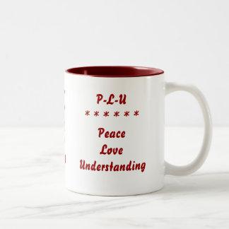Paz - amor - comprensión taza de dos tonos
