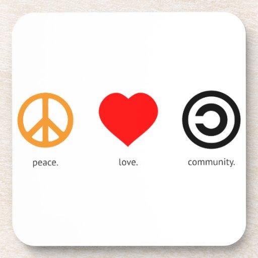 Paz, amor, comunidad posavasos de bebida