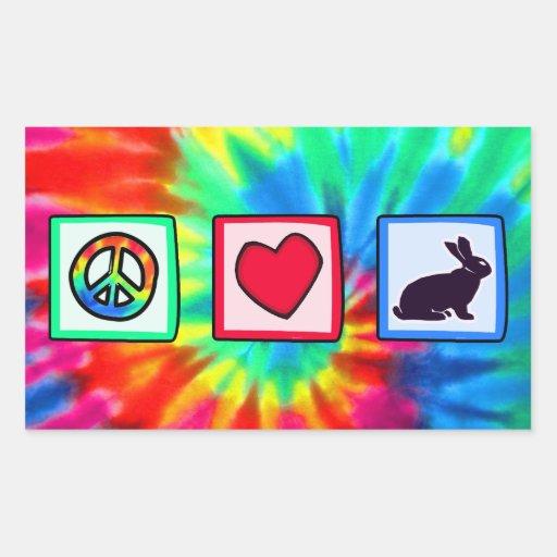 Paz, amor, conejitos pegatina rectangular