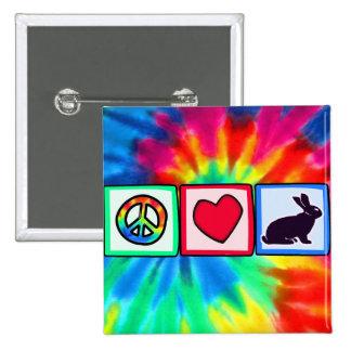 Paz, amor, conejitos pin cuadrado