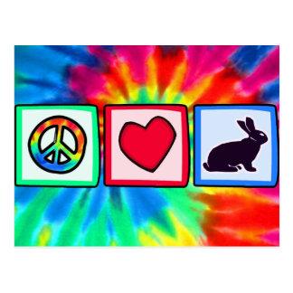 Paz, amor, conejitos tarjeta postal