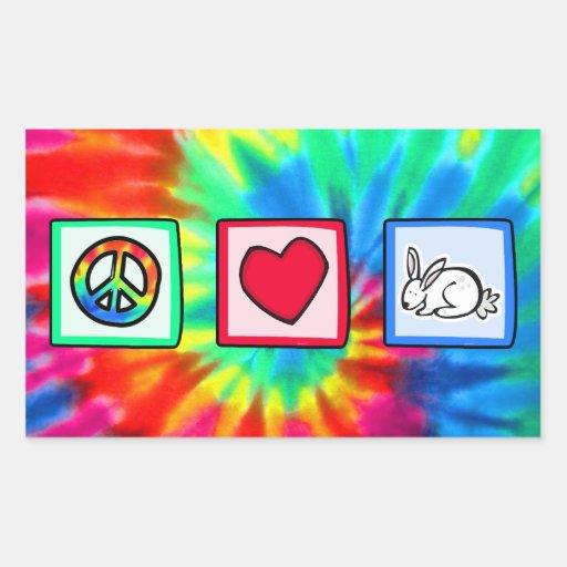 Paz, amor, conejos rectangular pegatina