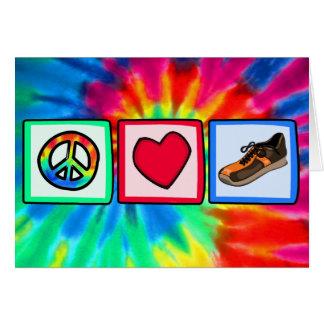 Paz, amor, corriendo tarjeta de felicitación