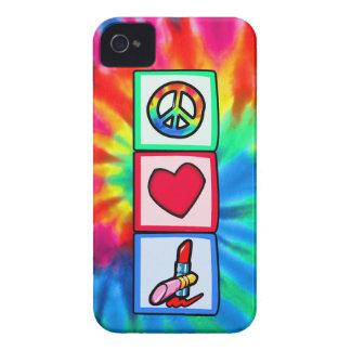 Paz, amor, cosméticos funda para iPhone 4 de Case-Mate
