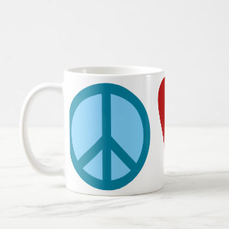 Paz, amor, cosmopolita taza de café