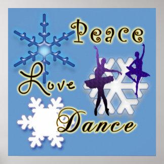 Paz amor danza con los copos de nieve poster