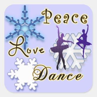 Paz, amor, danza con los copos de nieve pegatina cuadrada