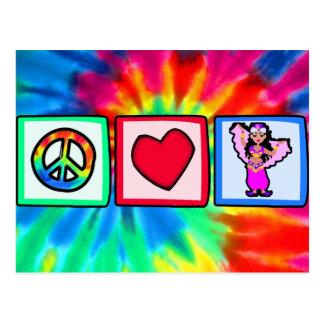 Paz, amor, danza del vientre tarjeta postal