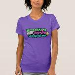 Paz, amor, delfínes; Retro Camiseta