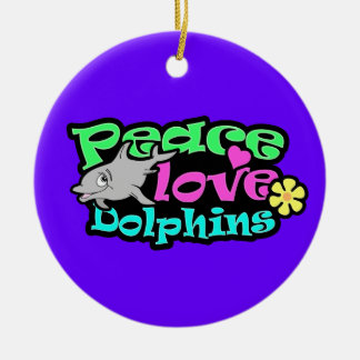 Paz, amor, delfínes; Retro Ornamentos De Navidad