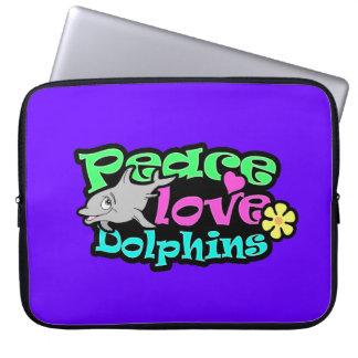 Paz, amor, delfínes; Retro Funda Portátil
