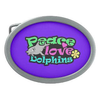 Paz, amor, delfínes; Retro Hebilla De Cinturon Oval