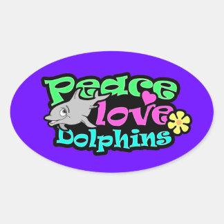 Paz, amor, delfínes; Retro Pegatinas Ovales