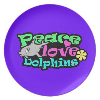 Paz, amor, delfínes; Retro Plato Para Fiesta