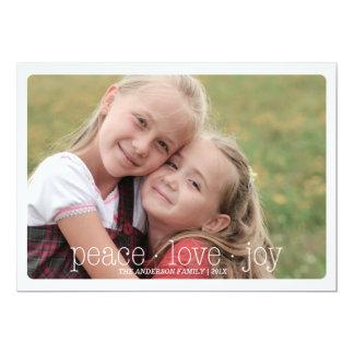 Paz, amor, día de fiesta Photocard - rojo de la Invitación 12,7 X 17,8 Cm