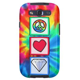 Paz, amor, diamantes galaxy SIII funda