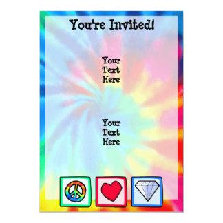 Paz, amor, diamantes invitación 12,7 x 17,8 cm