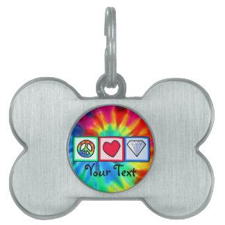 Paz, amor, diamantes placas de mascota