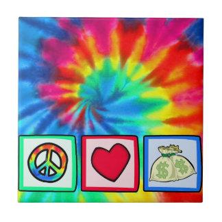 Paz, amor, dinero azulejo cuadrado pequeño
