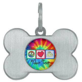 Paz, amor, dinero placas de mascota