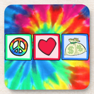 Paz, amor, dinero posavasos de bebida