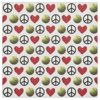 Paz, amor, diseño del softball telas