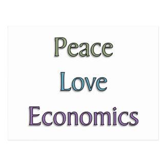 Paz, amor, economía postales