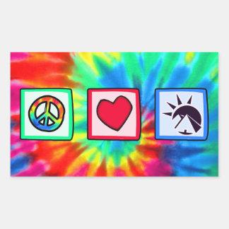 Paz, amor, egipcios pegatina rectangular
