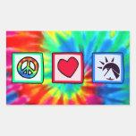 Paz, amor, egipcios rectangular pegatina