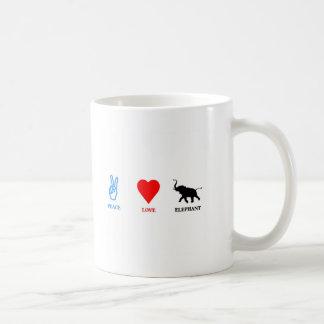 Paz amor elefante tazas