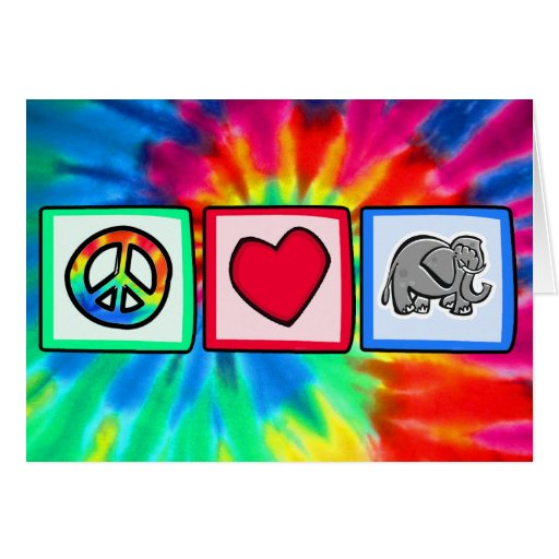 Paz, amor, elefantes felicitación