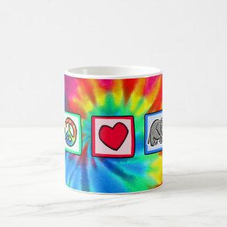 Paz amor elefantes tazas de café