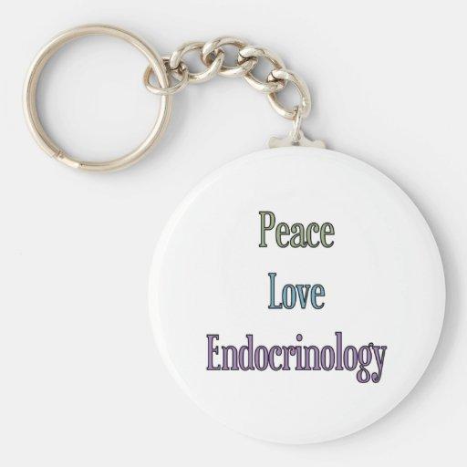 Paz, amor, endocrinología llaveros personalizados