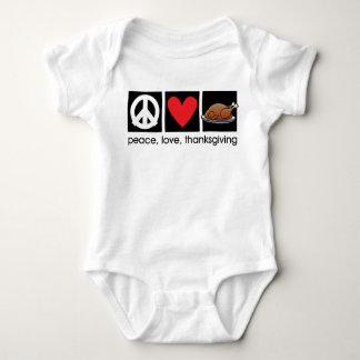 Paz, amor, enredadera infantil del bebé de la playera