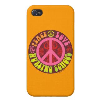 Paz, amor, escuela de enfermería iPhone 4/4S carcasa